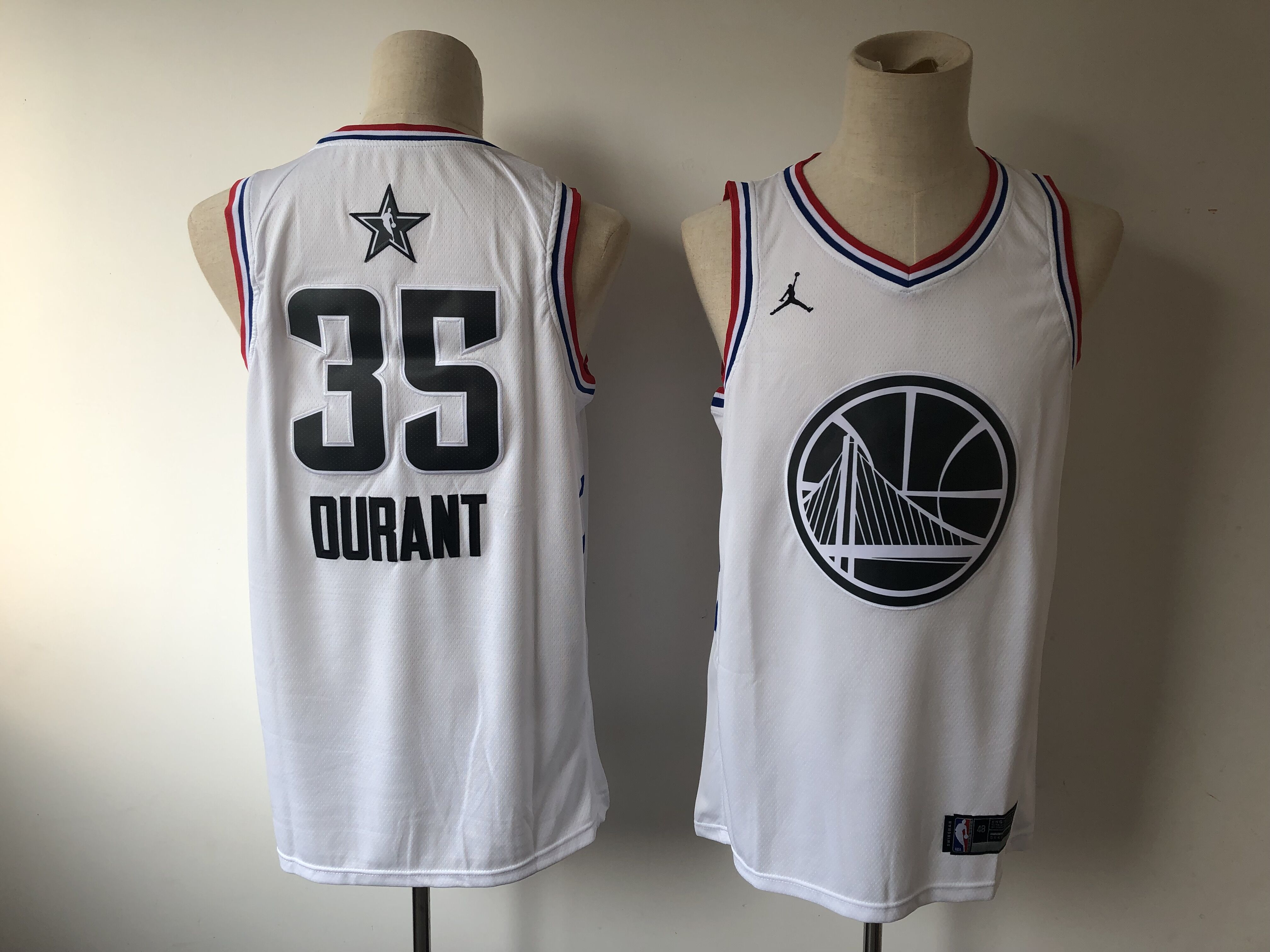 12e7f8a11 Men s Golden State Warriors  35 Kevin Durant White 2019 All Star Stitched  NBA Jersey