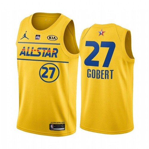Men's 2021 All-Star Utah Jazz #27 Rudy Gobert Yellow Stitched NBA Jersey