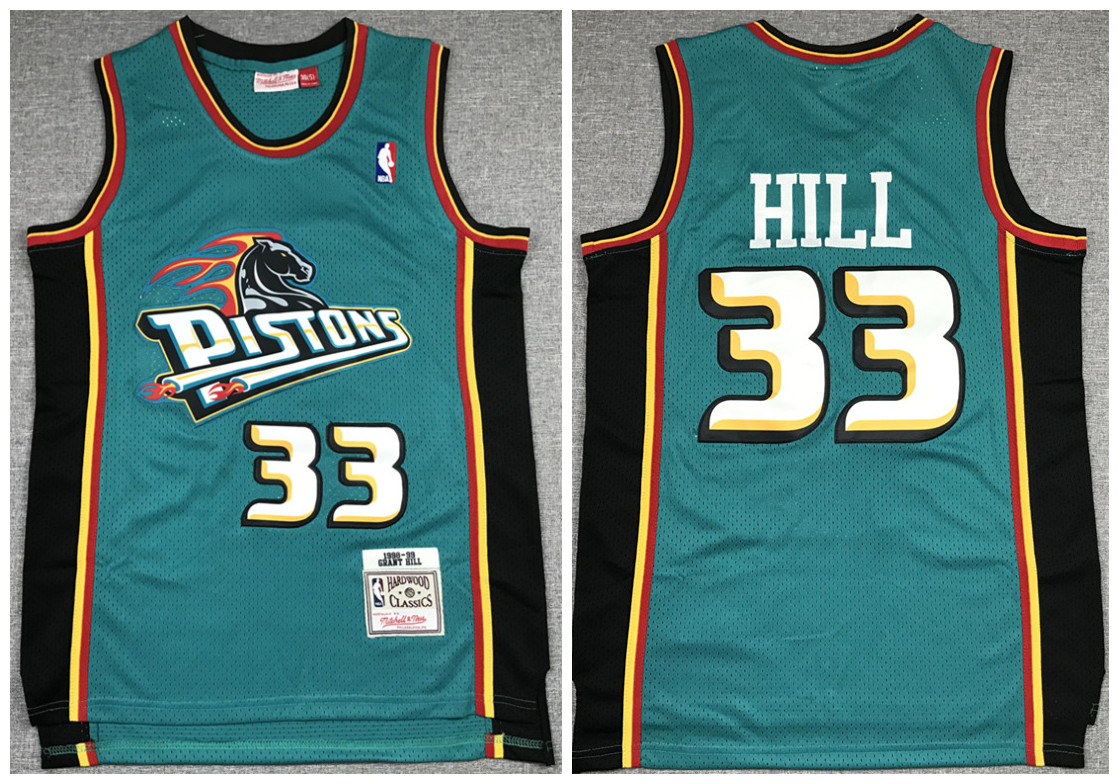 Men's Detroit Pistons Green #33 Grant Hill 1998-99 Throwback Stitched NBA Jersey