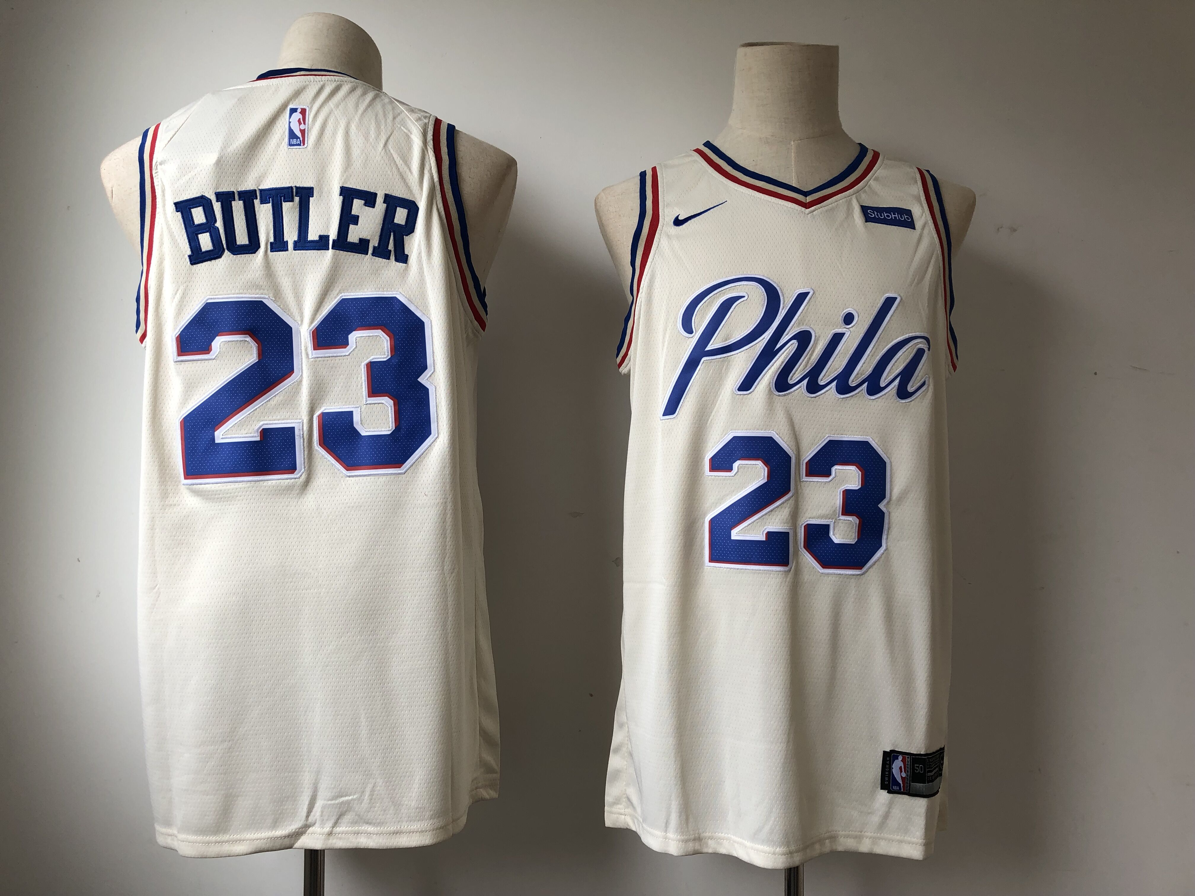 Men's Philadelphia 76ers #23 Jimmy Butler Cream 2018/19 City Edition Swingman Stitched NBA Jersey