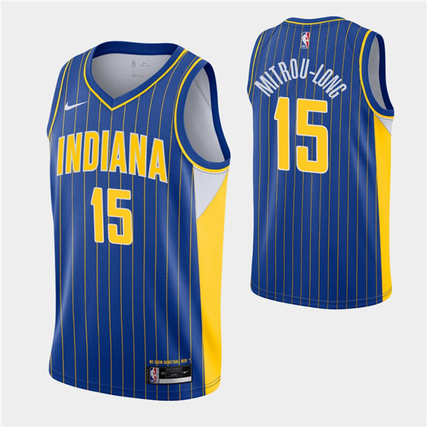 Men's Indiana Pacers #15 Naz Mitrou-Long Royal City Swingman 2020-21 Stitched NBA Jersey