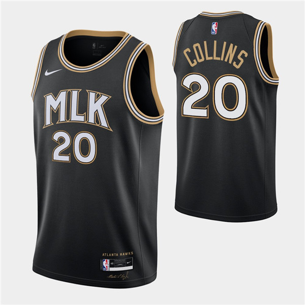Men's Atlanta Hawks #20 John Collins Black MLK City Swingman 2020-21 Stitched NBA Jersey