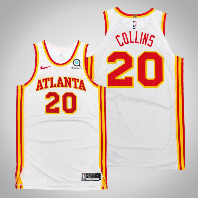Men's Atlanta Hawks #20 John Collins 2020-21 White Stitched NBA Jersey