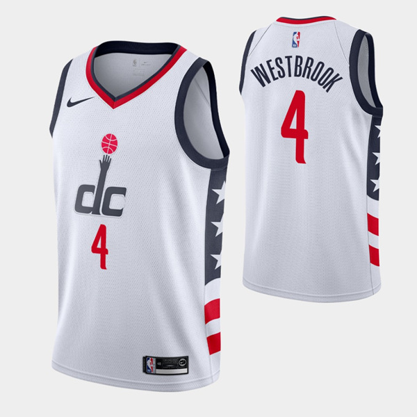 Men' Wizards #4 Russell Westbrook White City Stitched NBA Jersey