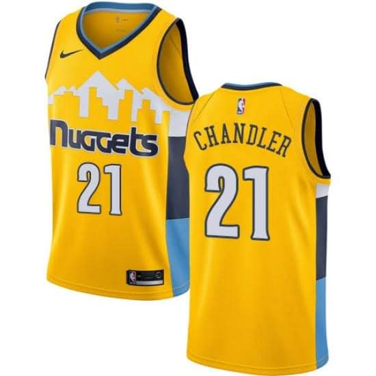 Men's Denver Nuggets #21 Wilson Chandler Yellow Stitched NBA Jersey