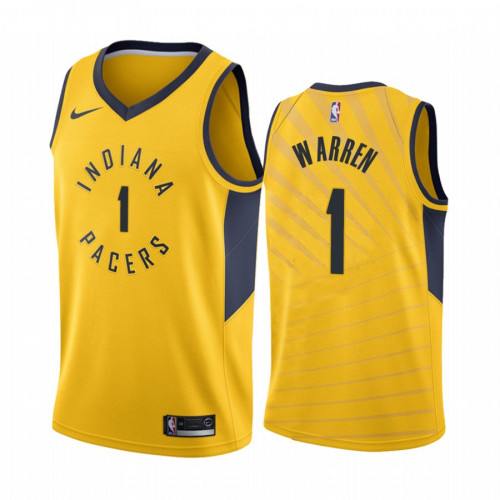 Men's Indiana Pacers Yellow #1 T.J. Warren Stitched NBA Jersey