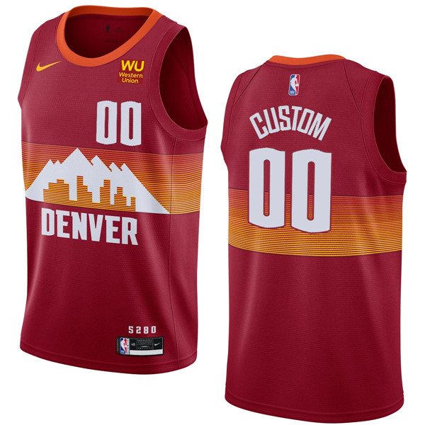 Men's Denver Nuggets Active Player Custom Red 2020-21 City Edition Stitched NBA Jersey