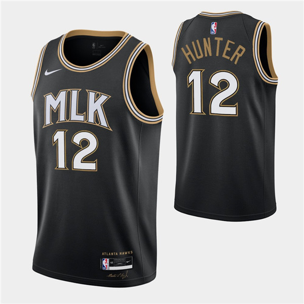 Men's Atlanta Hawks #12 De'andre Hunter Black MLK City Swingman 2020-21 Stitched NBA Jersey
