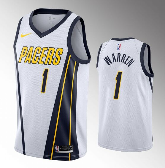 Men's Indiana Pacers White #1 T.J. Warren Stitched NBA Jersey