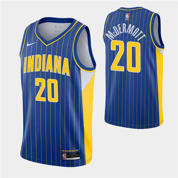 Men's Indiana Pacers #20 Doug McDermott Royal City Swingman 2020-21 Stitched NBA Jersey