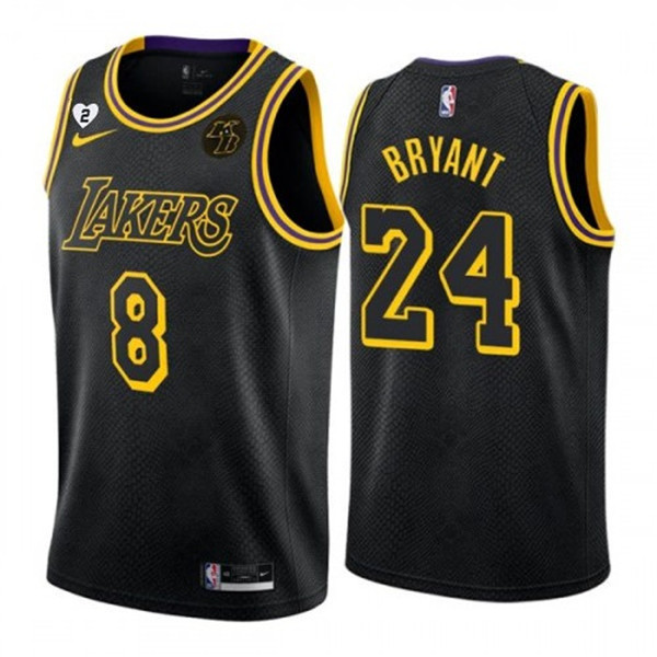 Men's Los Angeles Lakers Black Front #8 Back #24 Kobe Bryant With Gigi Patch Stitched NBA Jersey