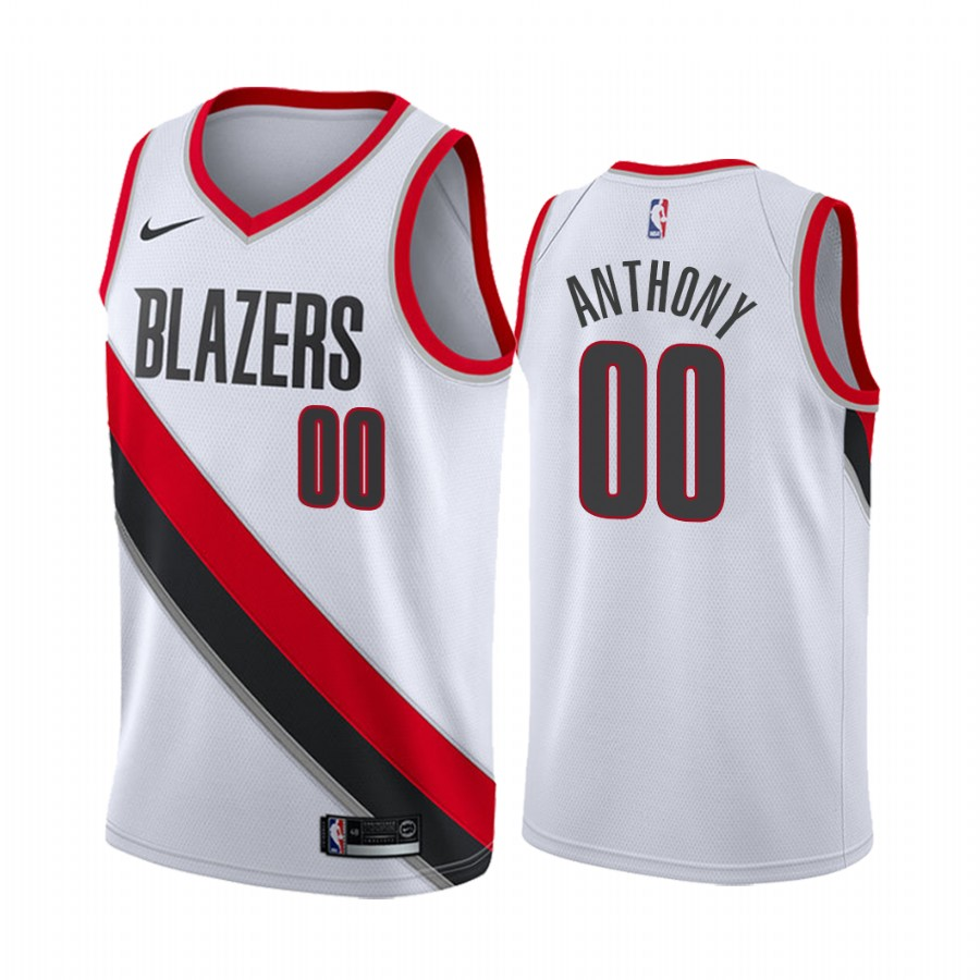 Men's Portland Trail Blazers #00 Carmelo Anthony White Stitched NBA Jersey