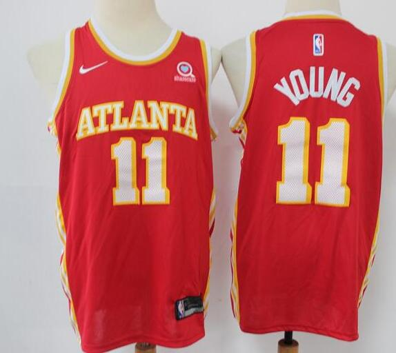 Men's Atlanta Hawks Red #11 Trae Young Stitched NBA Jersey