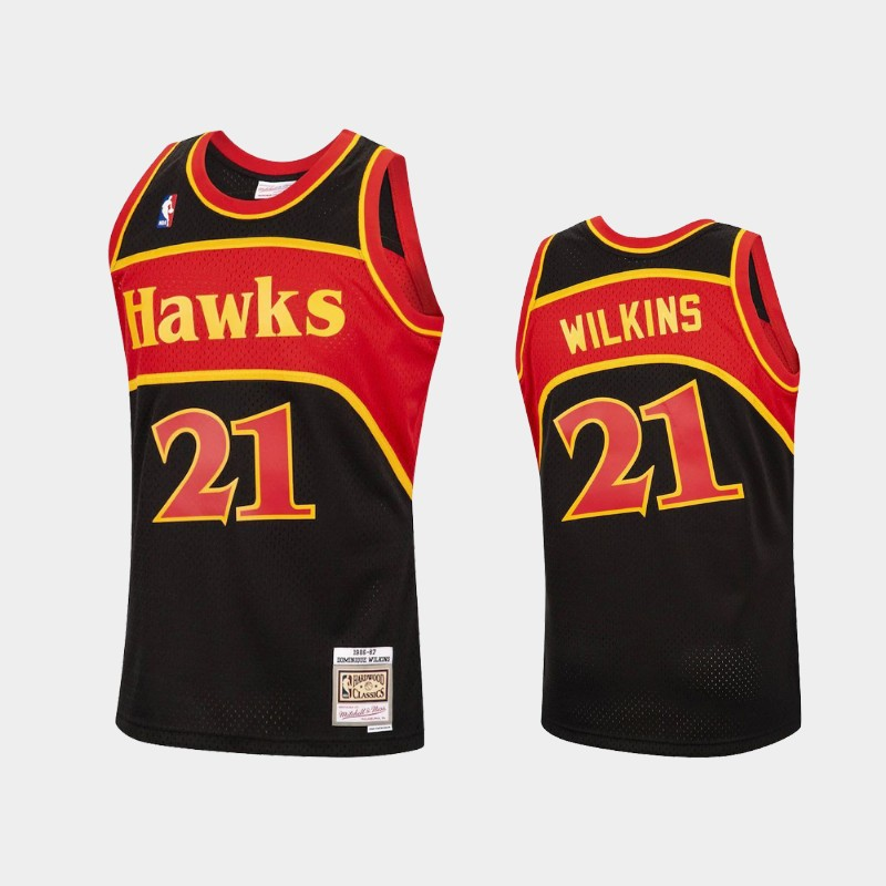 Men's Atlanta Hawks Black #21 Dominique Wilkins 1986-87 Reload Hardwood Classics Stitched NBA Jersey
