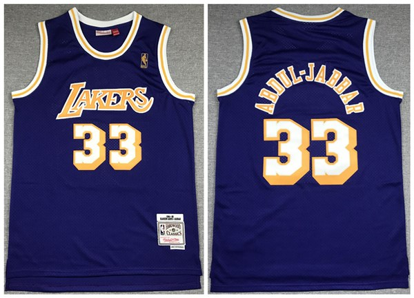 Men's Los Angeles Lakers #33 Kareem Abdul-Jabbar Purple 1994-95 Throwback Stitched NBA Jersey