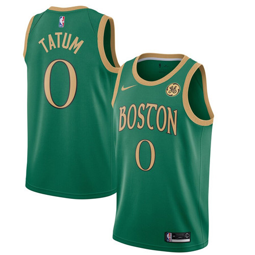 Men's Boston Celtics #0 Jayson Tatum Green City Edition Stitched NBA Jersey