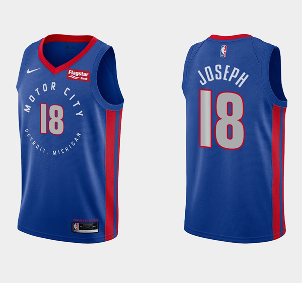 Men's Detroit Pistons #18 Cory Joseph Blue City Edition Stitched NBA Jersey