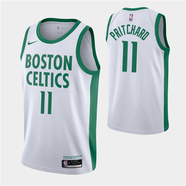 Men's Boston Celtics #11 Payton Pritchard White 2020-21 City Edition Swingman Stitched NBA Jersey