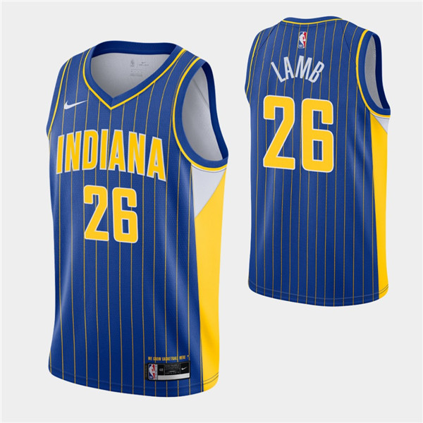 Men's Indiana Pacers #26 Jeremy Lamb Royal City Swingman 2020-21 Stitched NBA Jersey