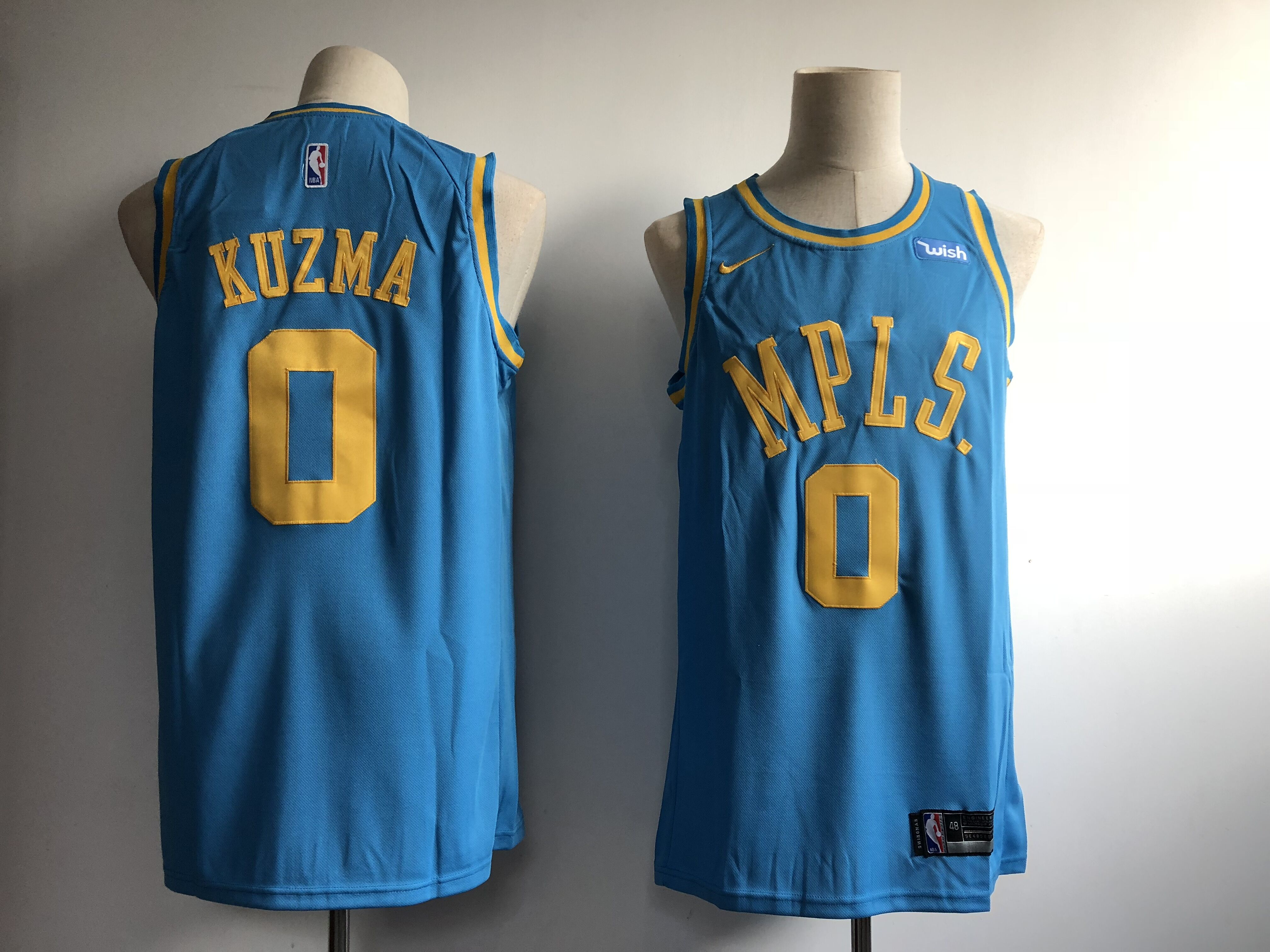 Men's Los Angeles Lakers #0 Kyle Kuzma Blue MPLS Wish Stitched NBA Jersey
