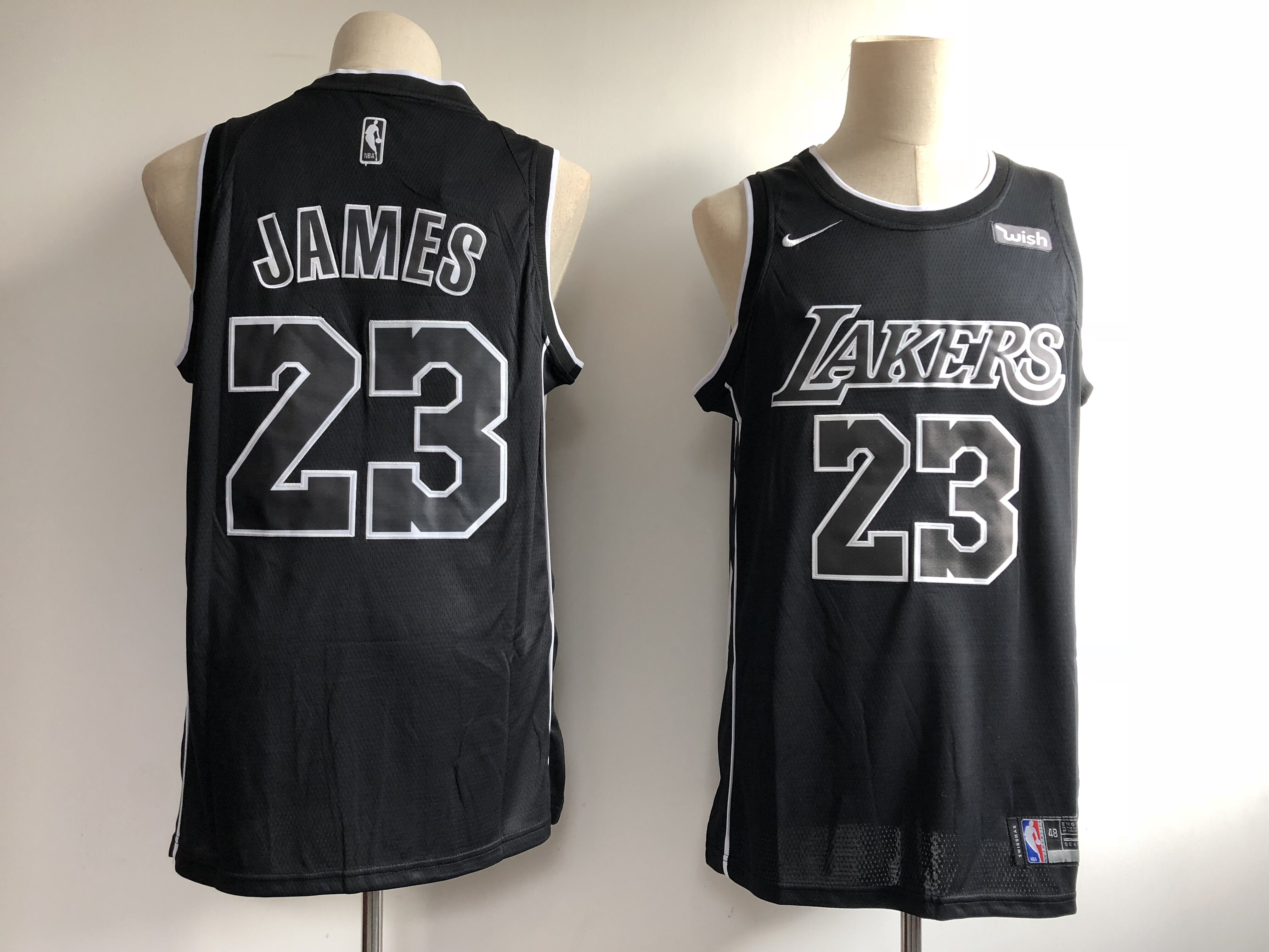 Men's Los Angeles Lakers #23 LeBron James Black 2018/19 Edition Swingman Stitched NBA Jersey