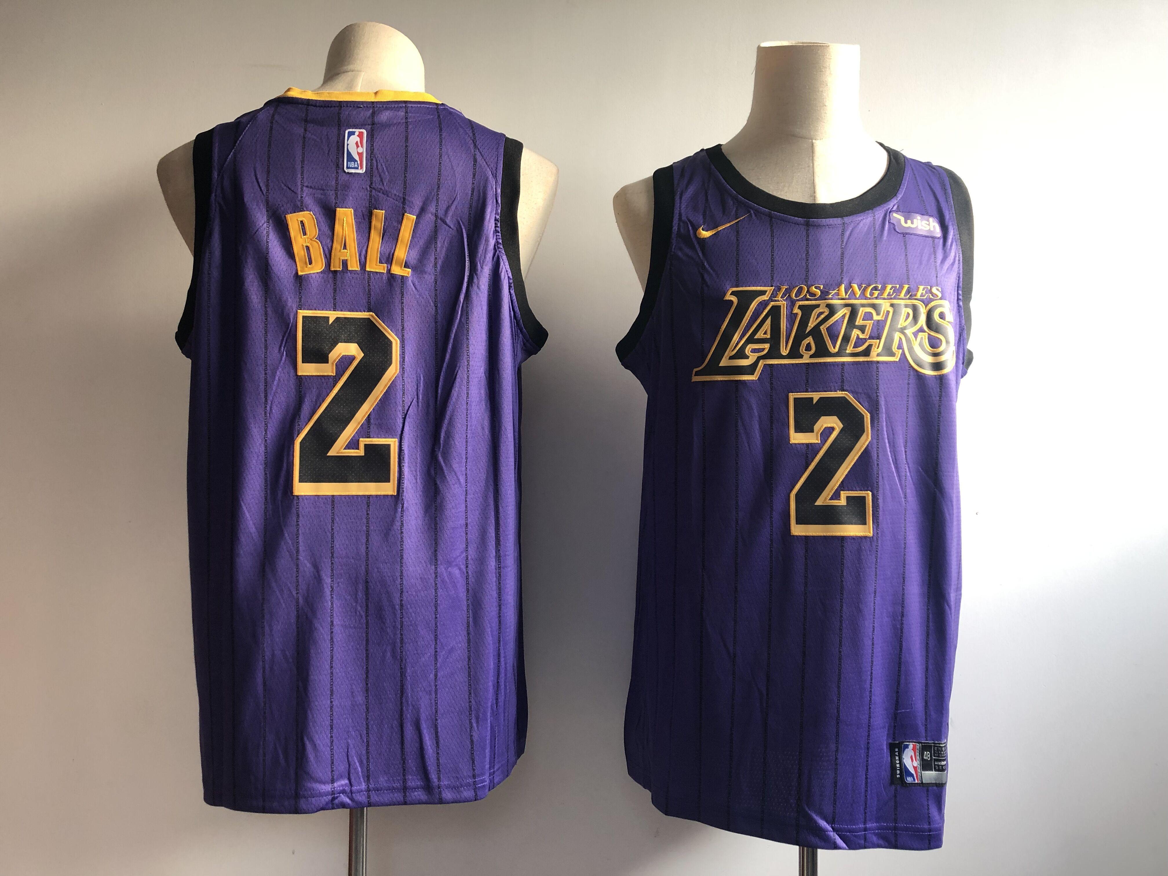 85fc953c1 Men s Los Angeles Lakers  2 Lonzo Ball Purple 2018 19 City Edition Swingman  Stitched
