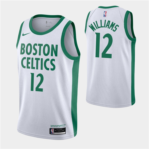Men's Boston Celtics #12 Grant Williams White 2020-21 City Edition Swingman Stitched NBA Jersey