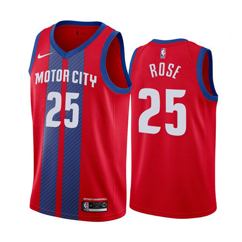 Men's Detroit Pistons #25 Derrick Rose Red 2019 City Edition Stitched NBA Jersey