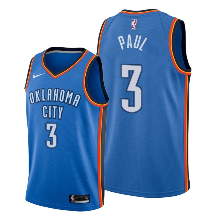 Men's Oklahoma City Thunder Blue #3 Chris Paul Stitched NBA Jersey
