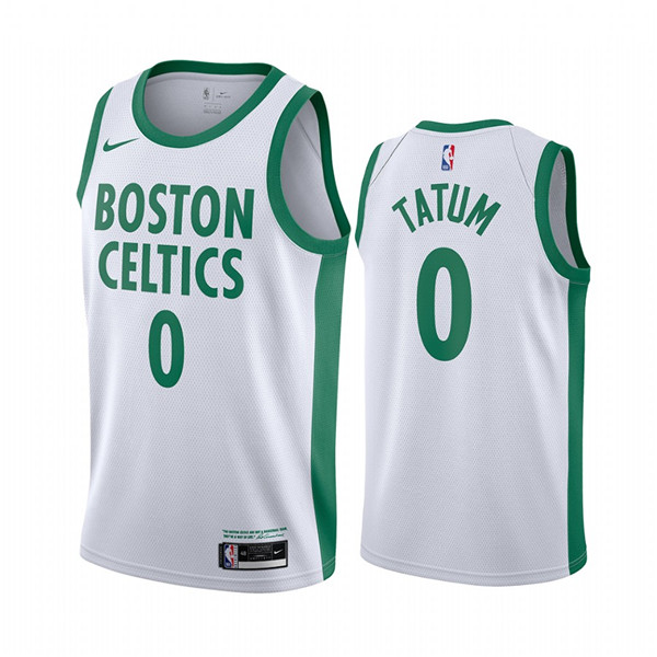Men's Boston Celtics #0 Jayson Tatum White 2020-21 City Edition Swingman Stitched NBA Jersey