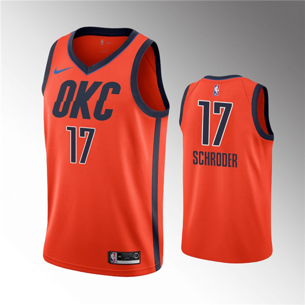Men's Oklahoma City Thunder Orange #17 Dennis Schroder Stitched NBA Jersey