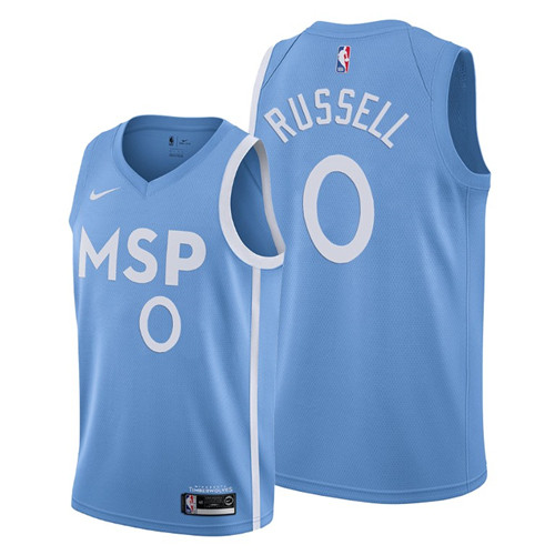 Men's Minnesota Timberwolves #0 D'Angelo Russell Blue 2019 City Edition Stitched NBA Jersey