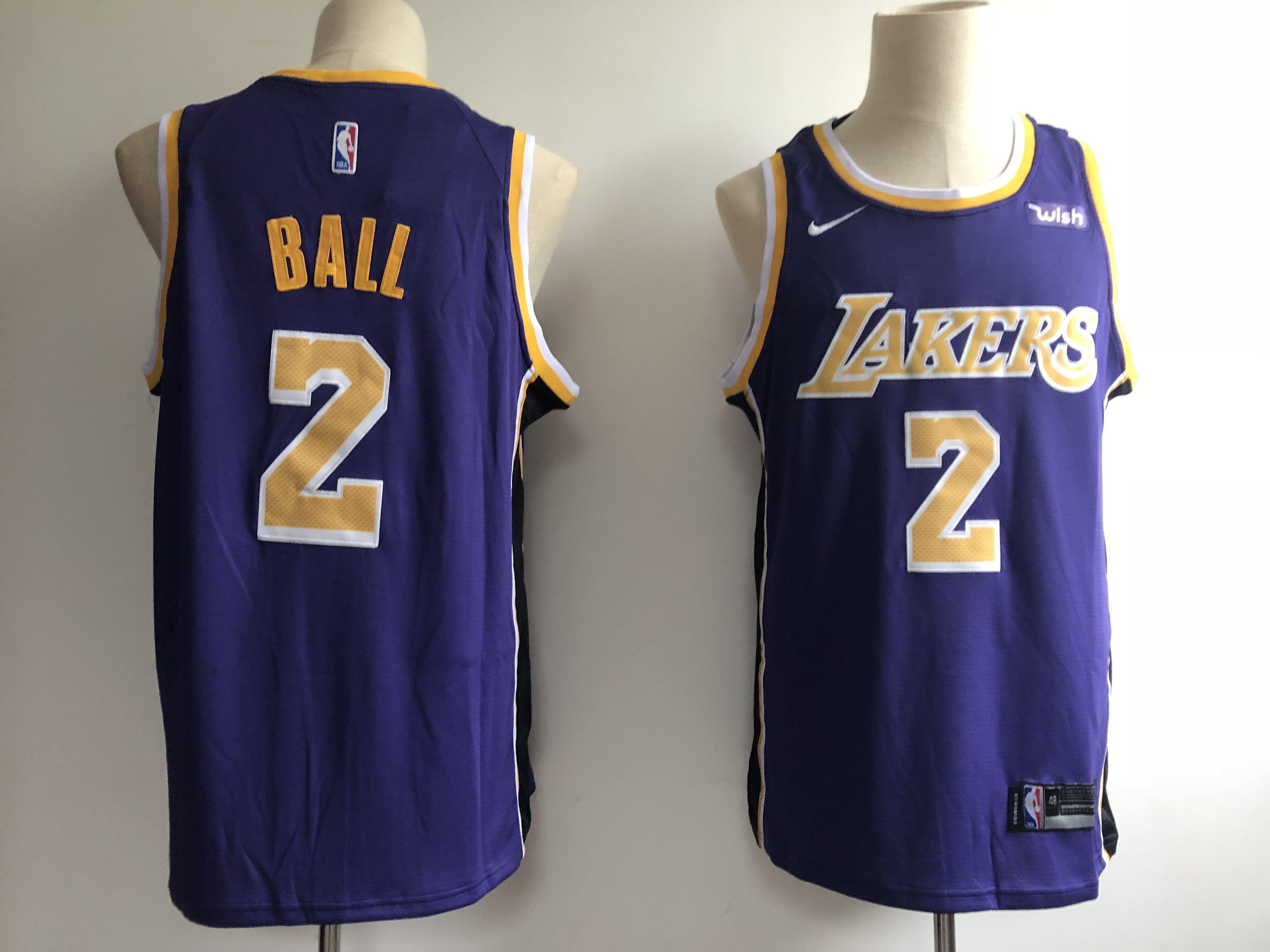 2bb56d7d373 Men's Los Angeles Lakers #2 Lonzo Ball New Purple Wish Stitched NBA Jersey