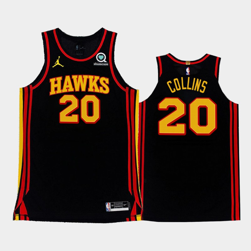 Men's Atlanta Hawks #20 John Collins 2020-21 Statement Black Stitched NBA Jersey