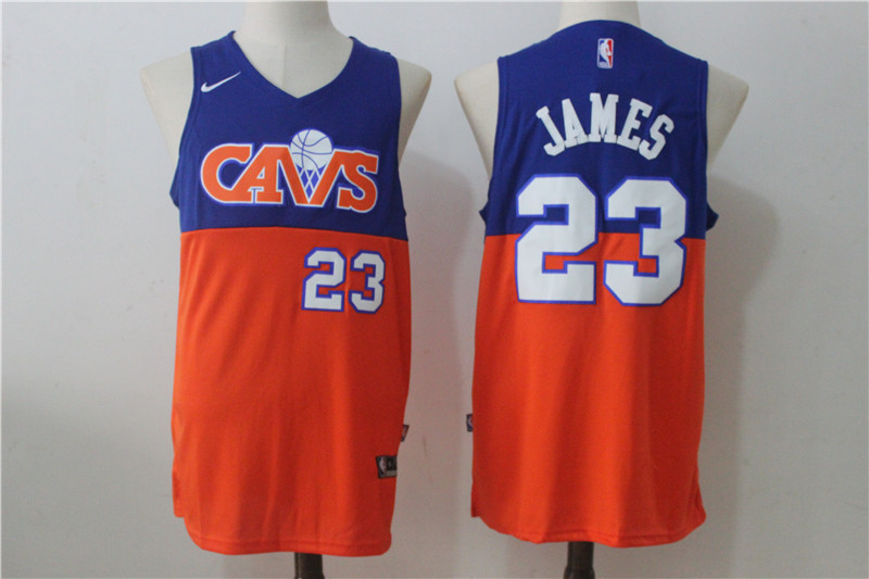 Men's Nike Cleveland Cavaliers #23 LeBron James Blue/Orange Nike Stitched NBA Jersey