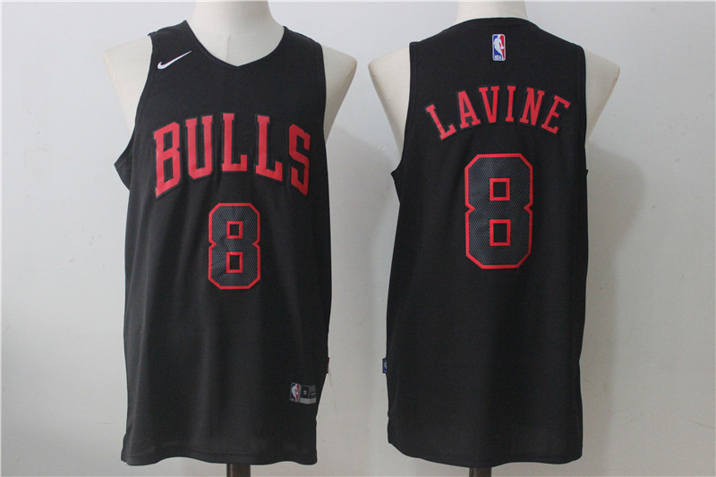 Men's Chicago Bulls #8 Zach LaVine Black Nike Fashion Stitched NBA Jersey