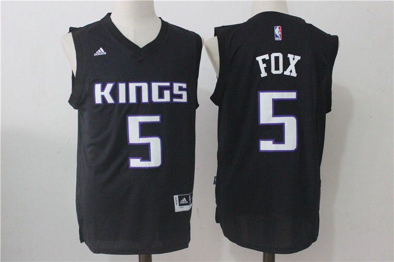 Men's Sacramento Kings #5 Fox Black Stitched NBA Jersey