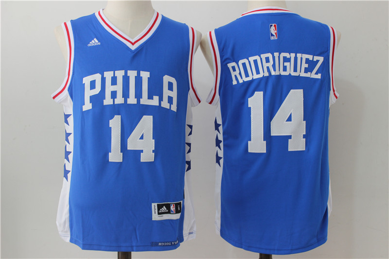 Men's Philadelphia 76ers #14 Rodriguez Blue Stitched NBA Jersey