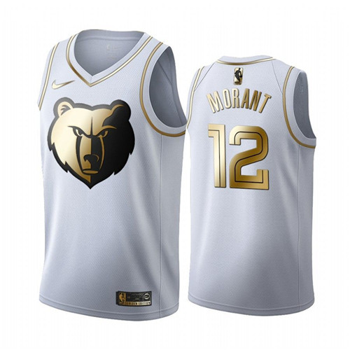 Men's Memphis Grizzlies #12 Ja Morant White 2019 Golden Edition Stitched NBA Jersey
