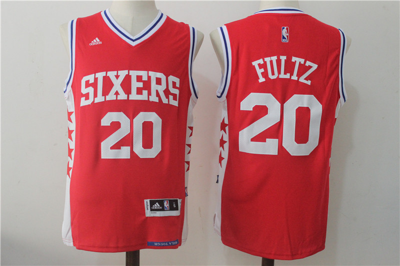 Men's Philadelphia 76ers #20 Fultz Red Stitched NBA Jersey
