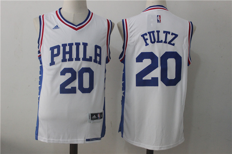 Men's Philadelphia 76ers #20 Fultz White Stitched NBA Jersey