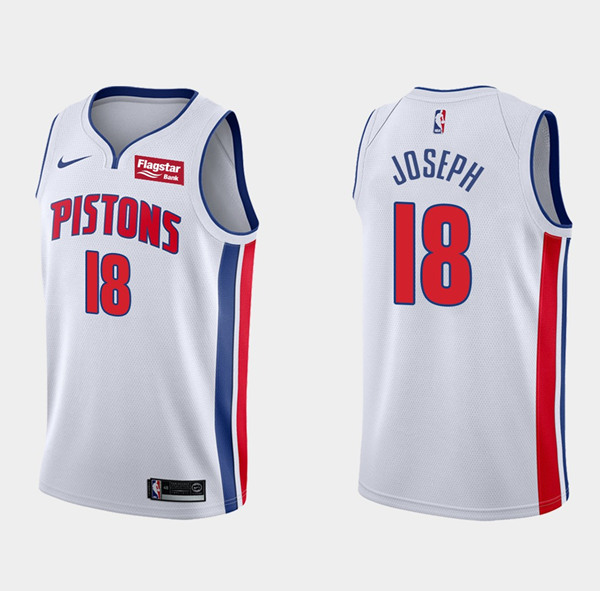 Men's Detroit Pistons #18 Cory Joseph White Stitched NBA Jersey