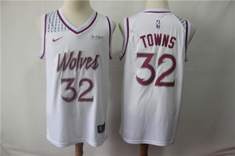 Men's Minnesota Timberwolves #32 Karl Anthony Towns White 2018/19 Earned Edition Swingman Stitched NBA Jersey