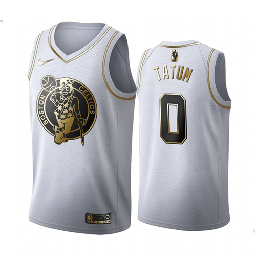 Men's Boston Celtics #0 Jayson Tatum White 2019 Golden Edition Stitched NBA Jersey