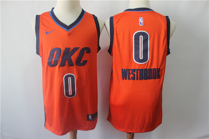 Men's Oklahoma City Thunder #0 Russell Westbrook Orange 2018/19 Earned Edition Swingman Stitched NBA Jersey