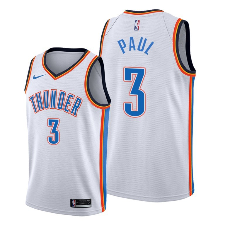 Men's Oklahoma City Thunder White #3 Chris Paul Stitched NBA Jersey