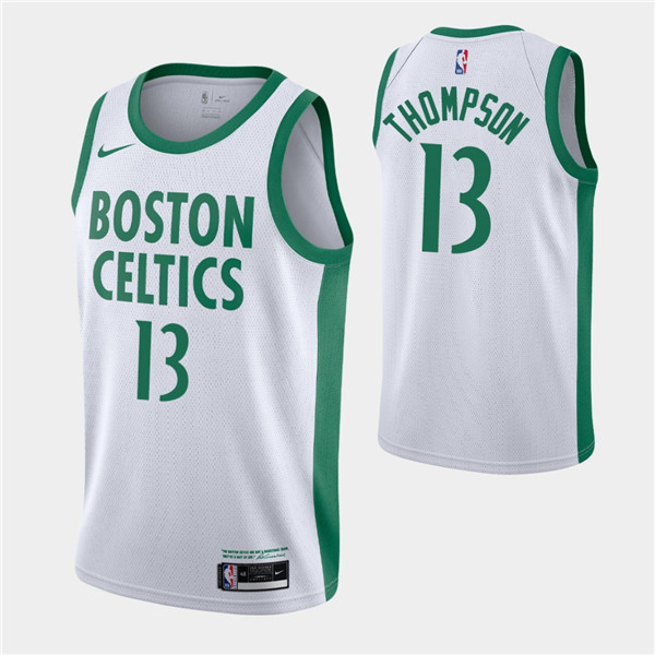 Men's Boston Celtics #13 Tristan Thompson White 2020-21 City Edition Swingman Stitched NBA Jersey