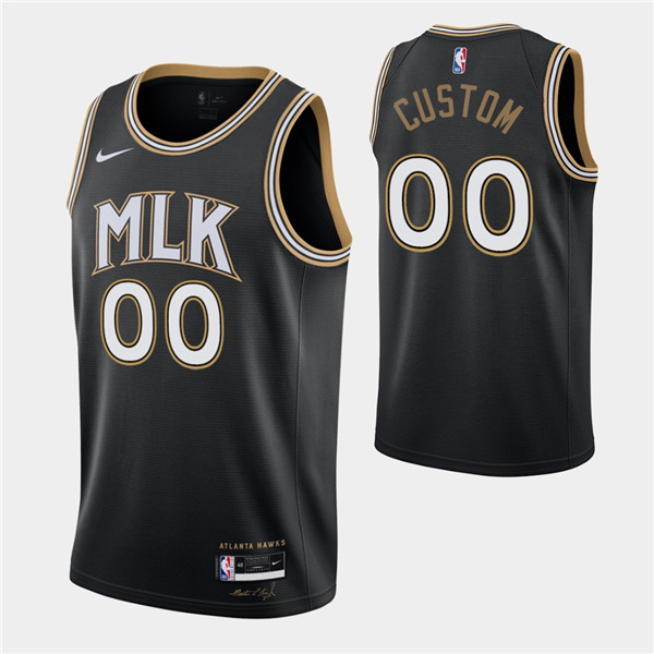 Men's Atlanta Hawks Active Players Custom Black MLK City Swingman 2020-21 Stitched NBA Jersey