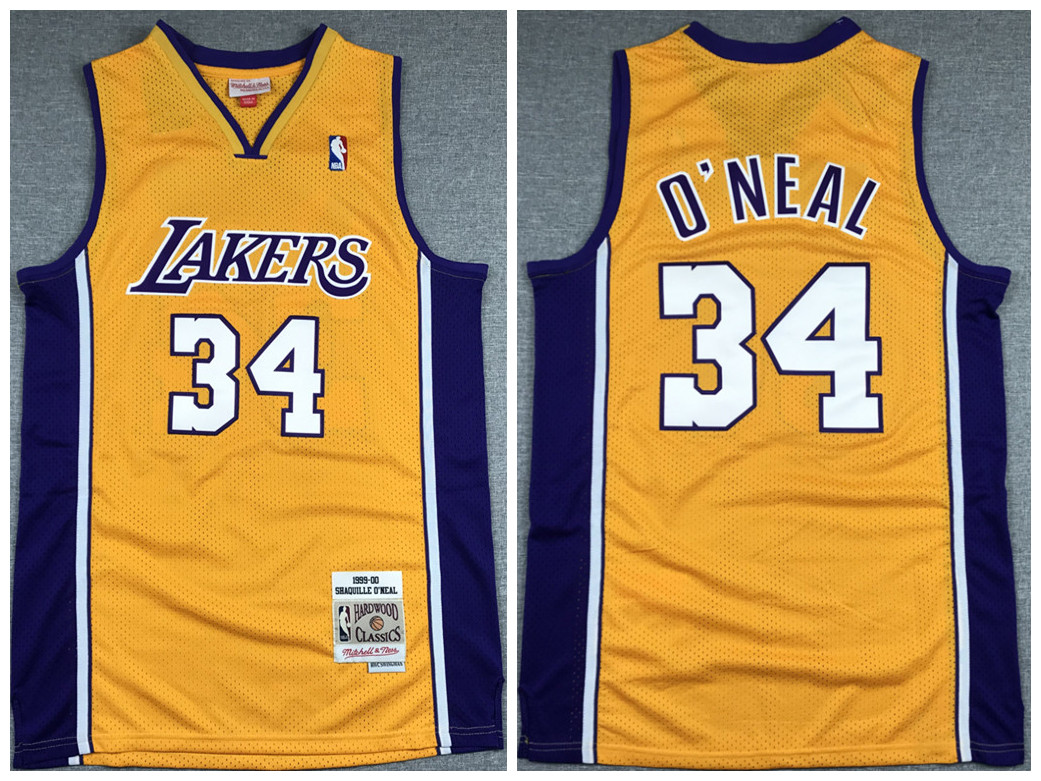Men's Los Angeles Lakers #34 Shaquille O'Neal Gold 1999-00 Throwback Stitched NBA Jersey