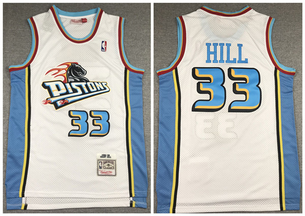 Men's Detroit Pistons #33 Grant Hill 1998-99 White Throwback Stitched NBA Jersey